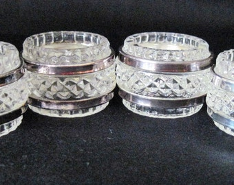 4 Vintage Oneida Cut Lead Crystal Napkin Rings With Silverplate Bands Made In West Germany With Original Box