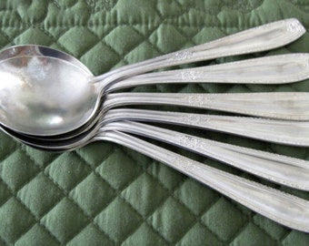 6 Antique Vintage National Silver Co. Silverplate Round Bowl Gumbo Soup Spoons Circa 1930's #16 Pattern Extra Plate