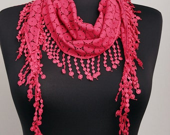 Fringed lace scarf in deep red  ,triangle lace scarf , guipure scarf, summer scarf