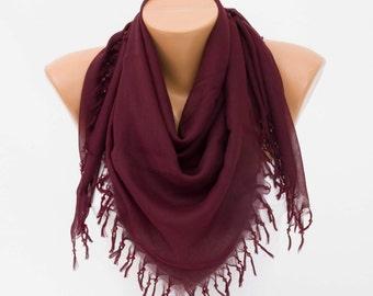 Fringed Scarf ,triangle tassel scarf , summer scarf,woman scarf ,deep eggplant