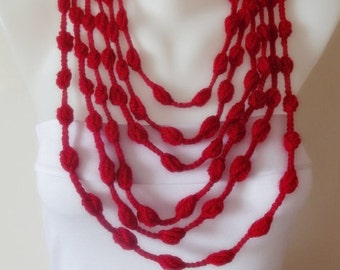 hand crocheted pompom scarf infinity scarf lariat crochet necklace hot red