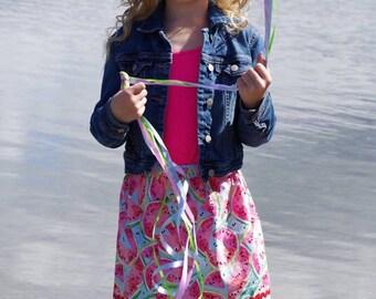 Aqua  watermellon Skirt (2T, 3T, 4T, 5, 6, 7, 8, 10)