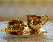 Royal Winton Grimwades Cabbage Leaf, Golden Age, Tiny Creamer, Sugar and Leaf Teay