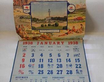 CALENDAR, Mobil, Magnolia, Mobilgas, Mobiloil, 1938 Calendar
