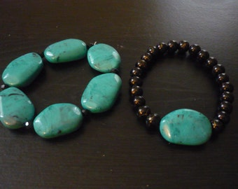 Big Turquoise and Black Bracelet Set