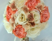 """17 Piece Package Wedding Bouquet Bride Silk Flowers Bridal Party Bouquets Decoration CORAL IVORY CHAMPAGNE Beige """"Lily of Angeles"""" COBE01"""
