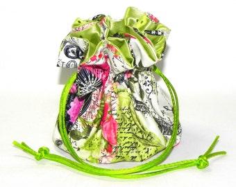 Drawstring Jewelry Bag Pouch - Jewelry organizer - Paris Eiffel Tower travel bag