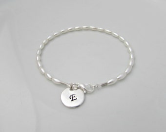 Seed Pearl Bracelet, Bridesmaid Gifts, Initial Bracelet, UK Seller, Girl Gifts, Bridesmaid Bracelet, Bridesmaid Jewelry, Flower Girl, Dainty