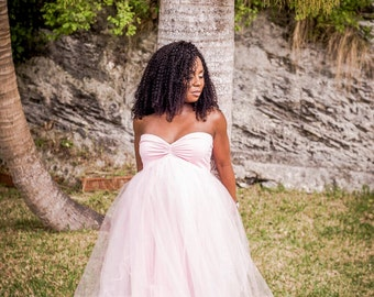 Stephanie pink tulle gown/Tulle maternity Gown, Tulle dress, Tulle prom dress, Tulle long dress