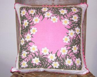 Handmade Pillow Cover, Mother's Day Gift, Easter Gift, Hostess Gift, Hanky Pillow, Childs Bedroom, Springtime