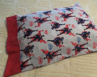 Superman ~ Amazing Super Hero . standard size children's pillow case . hidden seams .. sewn by me