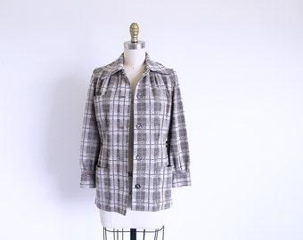 Vintage 60s Plaid Jacket, Beige Jacket Fitted Jacket, Small 1960 Vintage Jacket