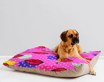 Mon Cheri red lips gold dots waterproof pet bed mattress, trendy pink gold washable unique cat dog accessory, warm portable cat dog cushion