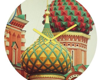 Wall Clock ~ Moscow St Basil Cathedral, places architecture home décor, travel wanderlust dorm decor, unique housewarming gift, gift for her