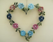 Large wired Heart with Leaves and Fabric Flowers, aqua, metallic blue, oxblood, dark red, Suffolk Puffs