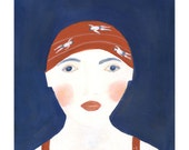 RESERVED - Swimmer Portrait - original artwork original painting gift for swimmer blue decor people swimming office decor feminine
