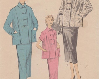 1950's Women's Maternity Cardigan Jacket Top and Pencil Skirt Size 14 Bust 32 Waist 26.5 Advance 6589