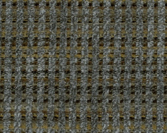 Woven Soft Striped Chenille Upholstery Fabric - Economical, Durable, Easy Clean - Color: Gable Pewter - Per yard