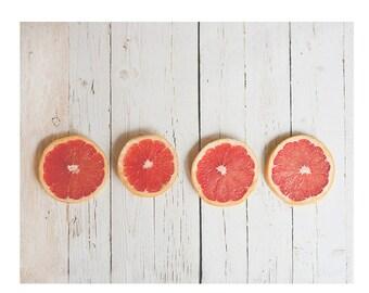 Pink Grapefruit print, kitchen wall decor, food photography, wall art, country home decor, citrus, grapefruit, farmhouse kitchen decor