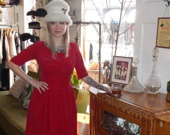 Vintage 1950's/60's red velvet scoop neck cocktail dress