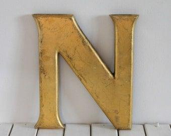 Vintage Shopfront letter N, gold leaf