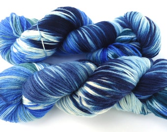 Hand painted Premium high twist sock yarn hand dyed: At the SeA