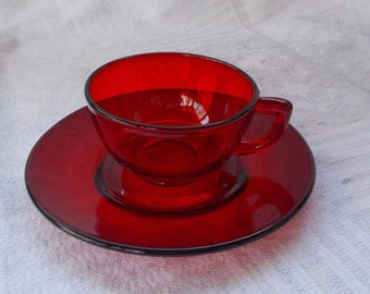 Anchor Hocking Ruby Red Cup and Saucer Sets (2)