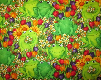 Frogs Flowers Nature Setting Green Cotton Fabric Fat Quarter or Custom Listing