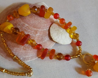 Summer Sunset Sea Glass Necklace