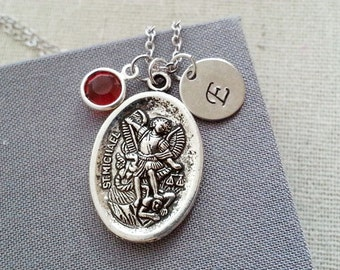 St. Michael Necklace, Holy Medal Pendant, Birthstone Initial Necklace, Catholic Gift, Military, Police Patron, Protection Medallion