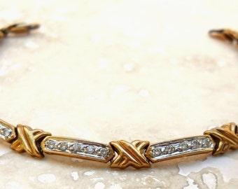 Vintage 10K Gold Diamond Tennis Bracelet