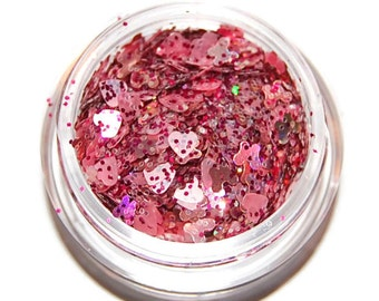 Pink Hearts and Sparkle Mix, Solvent Resistant Glitter Mix: 5 GRAM JAR. Raw Nail Glitter Mix for Nail Polish and Nail Art