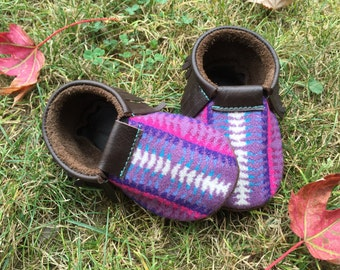 SALE // Scout Baby Moccasin 12-18 month // Tribal Pendleton Wool Brown Leather // Rosebud Originals