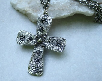 Vintage Tortolani Pendant Necklace Modernist Cross Silver Tone