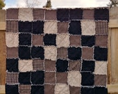 "Handmade Rag Quilt Couch Throw 47"" X 53"" Black and tan check homespun black & tan cotton Ready 2 Ship Handcrafted in Pa"