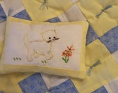 Doll quilt and pillow, blue and yellow with kitten pillow