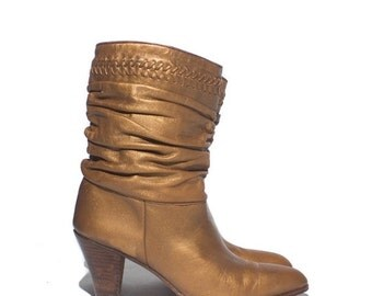 Make An Offer 6 M | Womens Gold Slouch High Heel Leather Boots by Nina