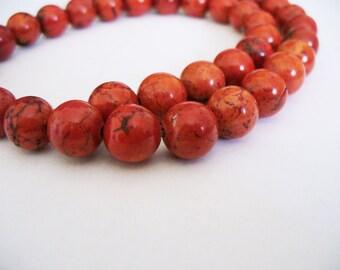 Magnesite Beads Gemstone Red Round 10MM
