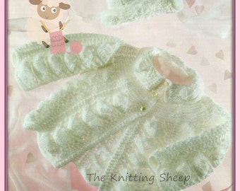 PDF Knitting Pattern - Babies Shell Design Matinee Coat & Hat - Instant Download