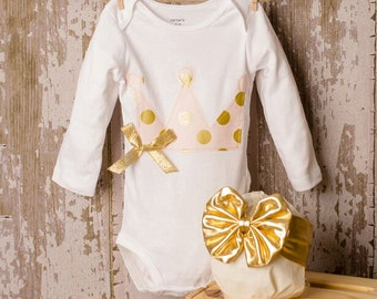 Gold and pink crown shirt or bodysuit with matching gold bow Any Size newborn to 24 months Bodysuit or shirt size 2 4 or 6