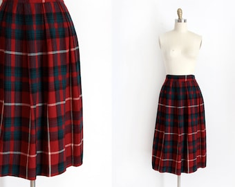 vintage 1940s skirt // 40s red plaid wool skirt