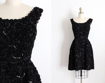 vintage 1960s dress // 60s black ribbon party dress