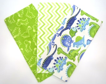 3 Pack of Cotton Flannel Fat Quarters in a Bundle of Fun Dinosaurs and Matching Prints