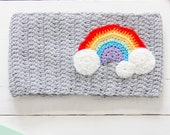 Crochet baby cowl - Clouds and rainbow