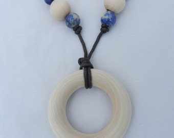Wooden Teething Ring Necklace with accent beads