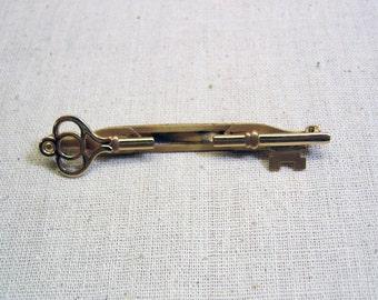 Cool Anson Golden Key Tie Clip, Two Clip Tie Clasp