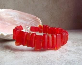 Orange Sea Glass Bracelet:  Tangerine Orange Beaded Bracelet, Autumn Jewelry