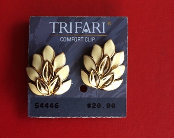Signed Still on the Card Gold and Enamel Clip On Earrings