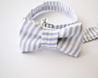 Bowtie For Baby, Blue and White Stripe, Infant Bow tie, Newborn Bow Tie, Newborn Outfit, Bowties By AmandaJoHandmade on Etsy