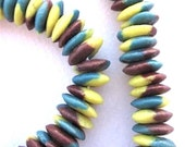 Krobo Beads, African Beads, Tribal Beads, Disk, Ashanti, Handmade, 25 beads